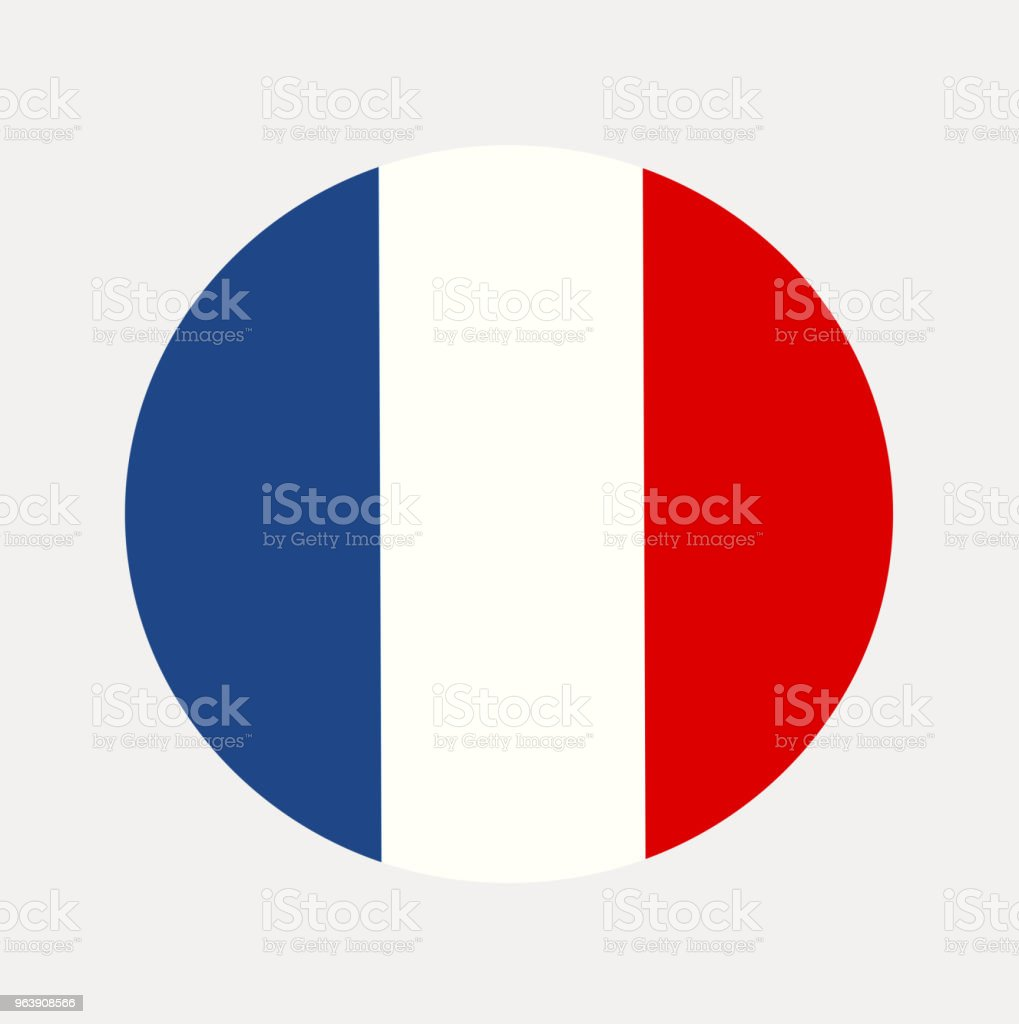 The National Flag of France in a Circle. Tricolor Flag Vector. - Royalty-free Art stock vector