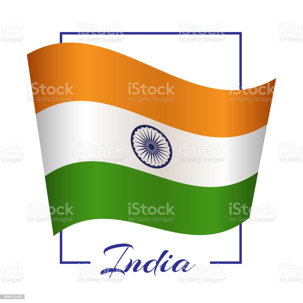 The National Flag Of India In A Rectangular Frame With The