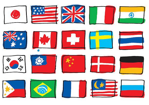 国立フラグを書く手書きする - ロシアの国旗点のイラスト素材/クリップアート素材/マンガ素材/アイコン素材