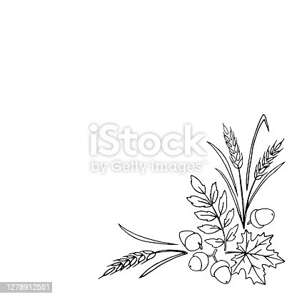 istock The Natural design collection - corner element made of acorns, leaves and ears in - style of contoured doodles. Happy fall and thanksgiving 1278912551