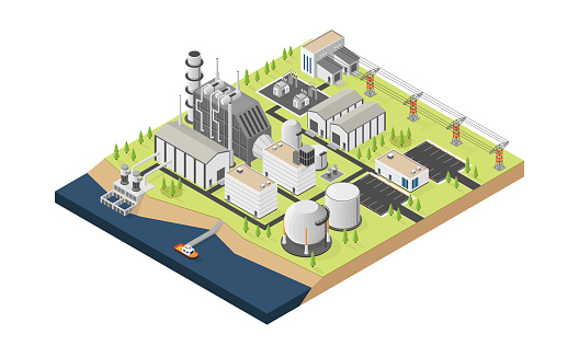 the natural gas energy, natural gas  power plant with isometric graphic