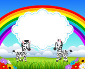 the nature view with the cloud board blank space and baby zebra talking infront of it