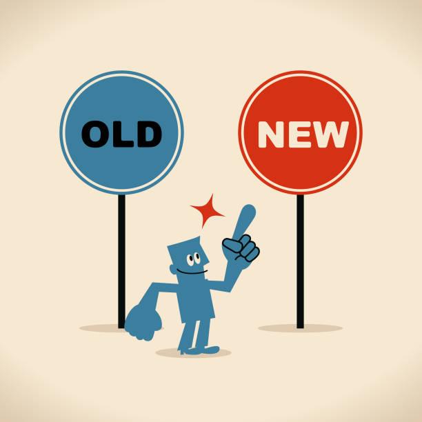 bildbanksillustrationer, clip art samt tecknat material och ikoner med det nya och det gamla sättet, leende affärsman som pekar på den nya skylten av pekfinger - det förflutna