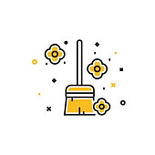 The New Normal Concept - Clean House Flat Line Icon, Flat Design Vector Symbol Illustration. Covid-19 Coronavirus