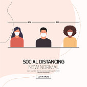 The New Normal Concept - Social Distancing Vector Illustration