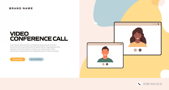 The New Normal Concept - Video Conference Vector Illustration