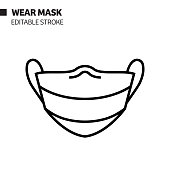 The New Normal Concept - Wear a Mask Line Icon, Vector Symbol Illustration. Covid-19 Coronavirus