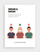 The New Normal Concept - Wear a Mask Vector Illustration