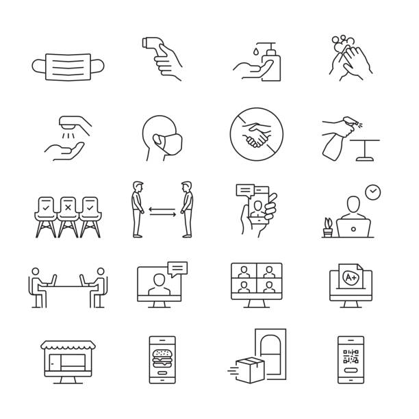 新しい標準アイコン。アウトライン シンボル アイコン - new normal点のイラスト素材/クリップアート素材/マンガ素材/アイコン素材
