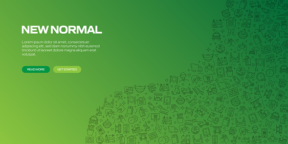 The New Normal Related Banner Design with Seamless Pattern, Vector Illustration. Covid-19 Coronavirus Concept