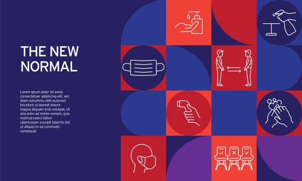 illustrazioni stock, clip art, cartoni animati e icone di tendenza di the new normal related design with line icons. simple outline symbol icons. - new normal