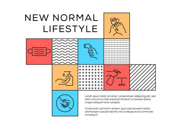 線アイコンを持つ新しいノーマル関連メンフィススタイルデザイン。シンプルシンボルアイコン。 - new normal点のイラスト素材/クリップアート素材/マンガ素材/アイコン素材