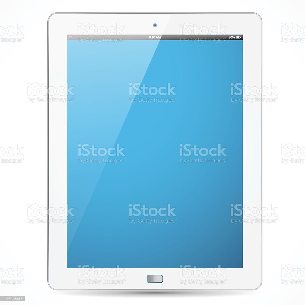 The new white tablet with blue screen vector art illustration