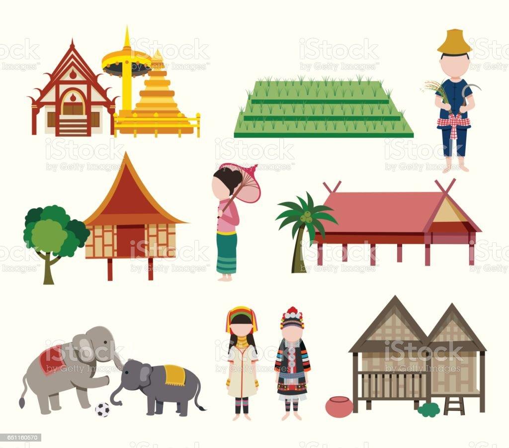 Northern Thailand Travel Elements Vector Art