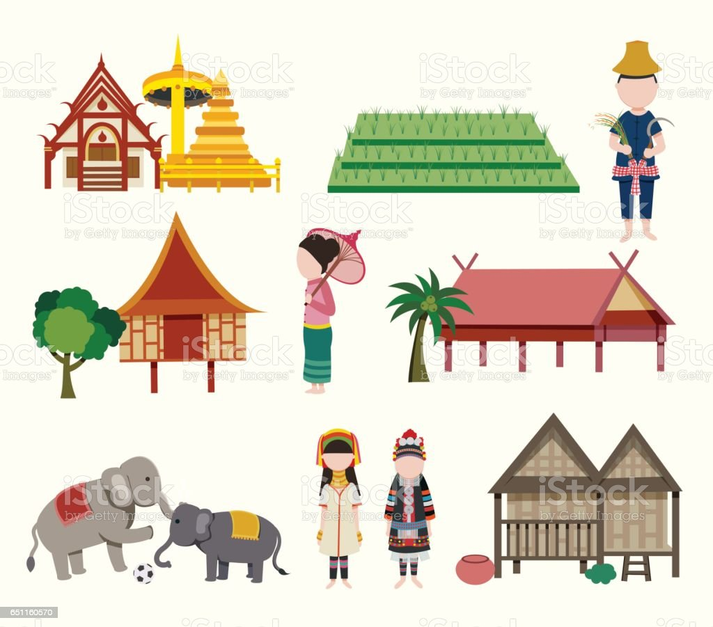 The Northern Thailand travel elements vector art illustration
