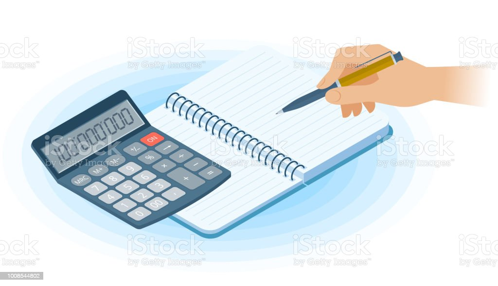 The Notebook Hand With Pen Math Calculator Flat Isometric ...