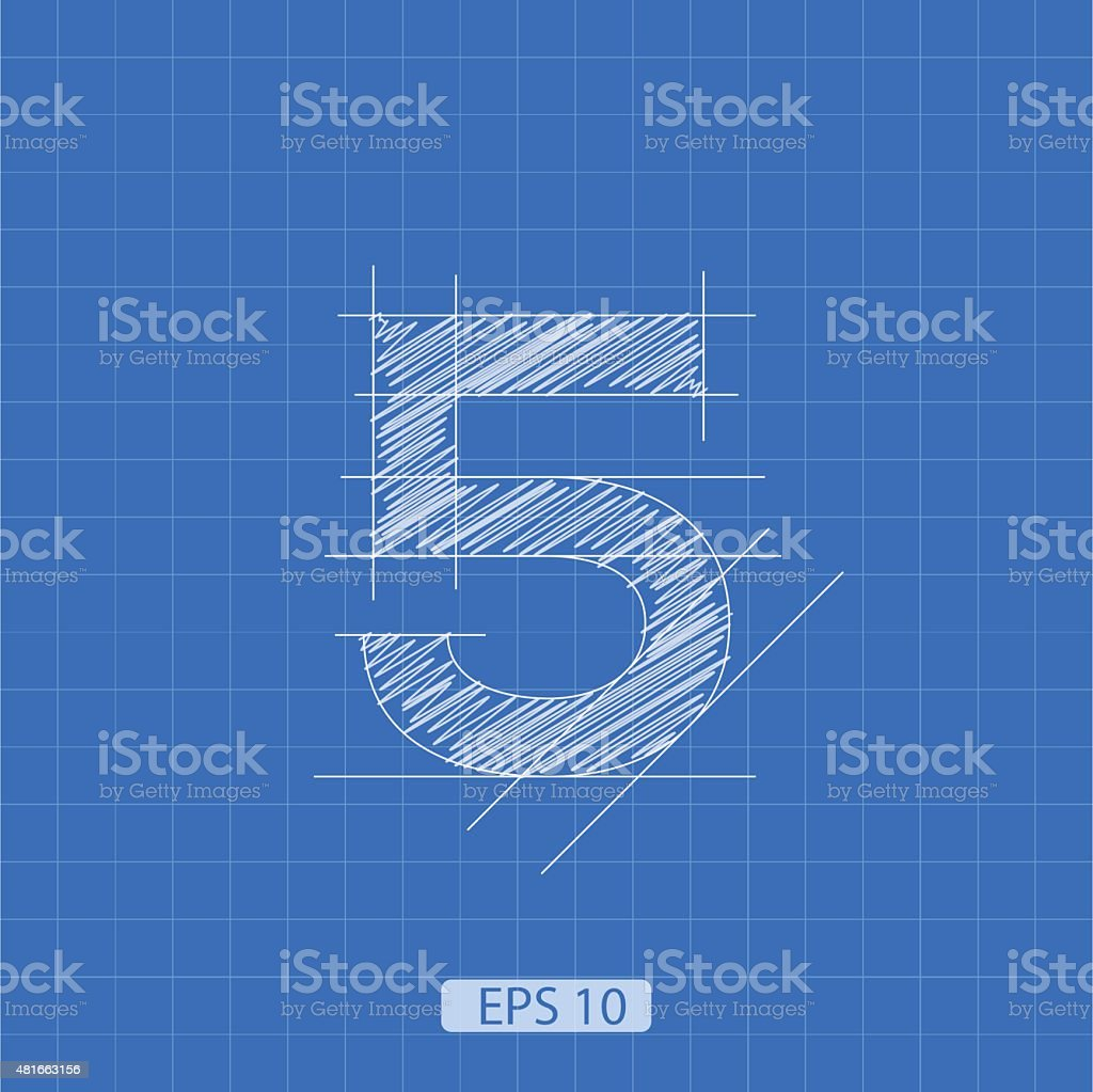 The number 'five' stylized architectural plan vector art illustration
