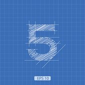 The number 'five' stylized architectural plan