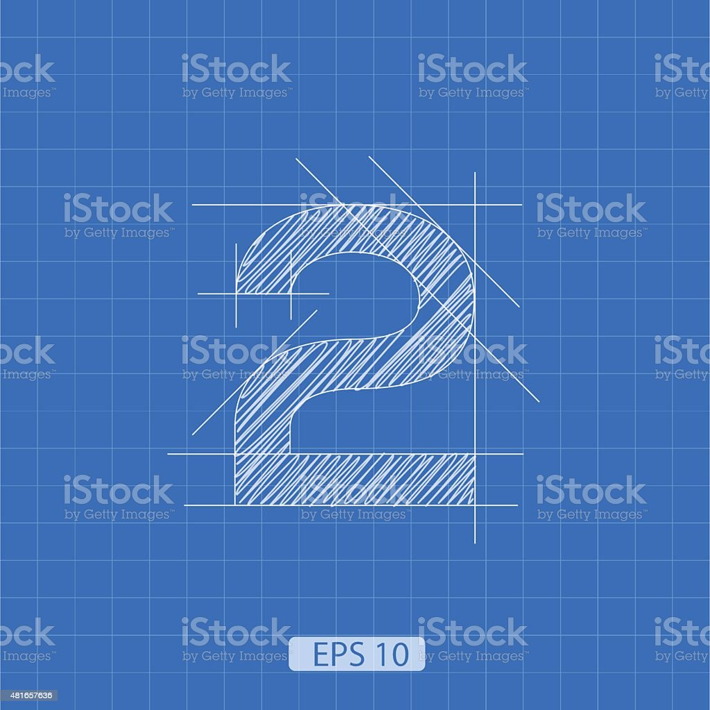 The number 'two' stylized architectural plan vector art illustration