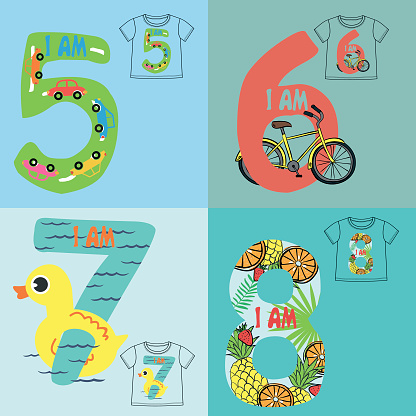 the number with cute illustration