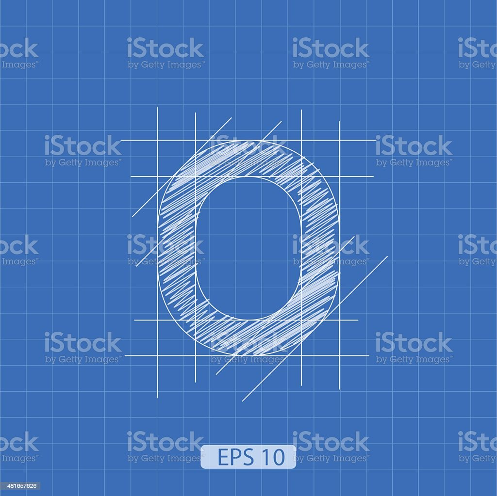 The number 'zero' stylized architectural plan vector art illustration