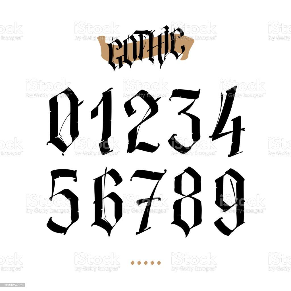 Die Zahlen Sind Im Gotischen Stil Vektor Symbole Die Isoliert Auf
