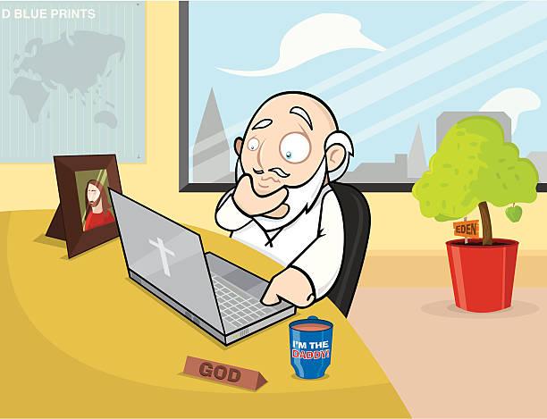 the office god - old man funny cartoon stock illustrations, clip art, cartoons, & icons