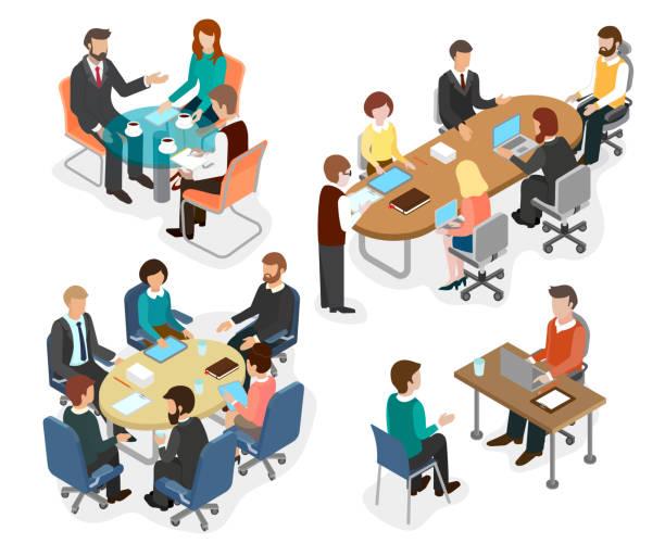 das office-team diskutiert fragen arbeiten am tisch. - tischarrangements stock-grafiken, -clipart, -cartoons und -symbole