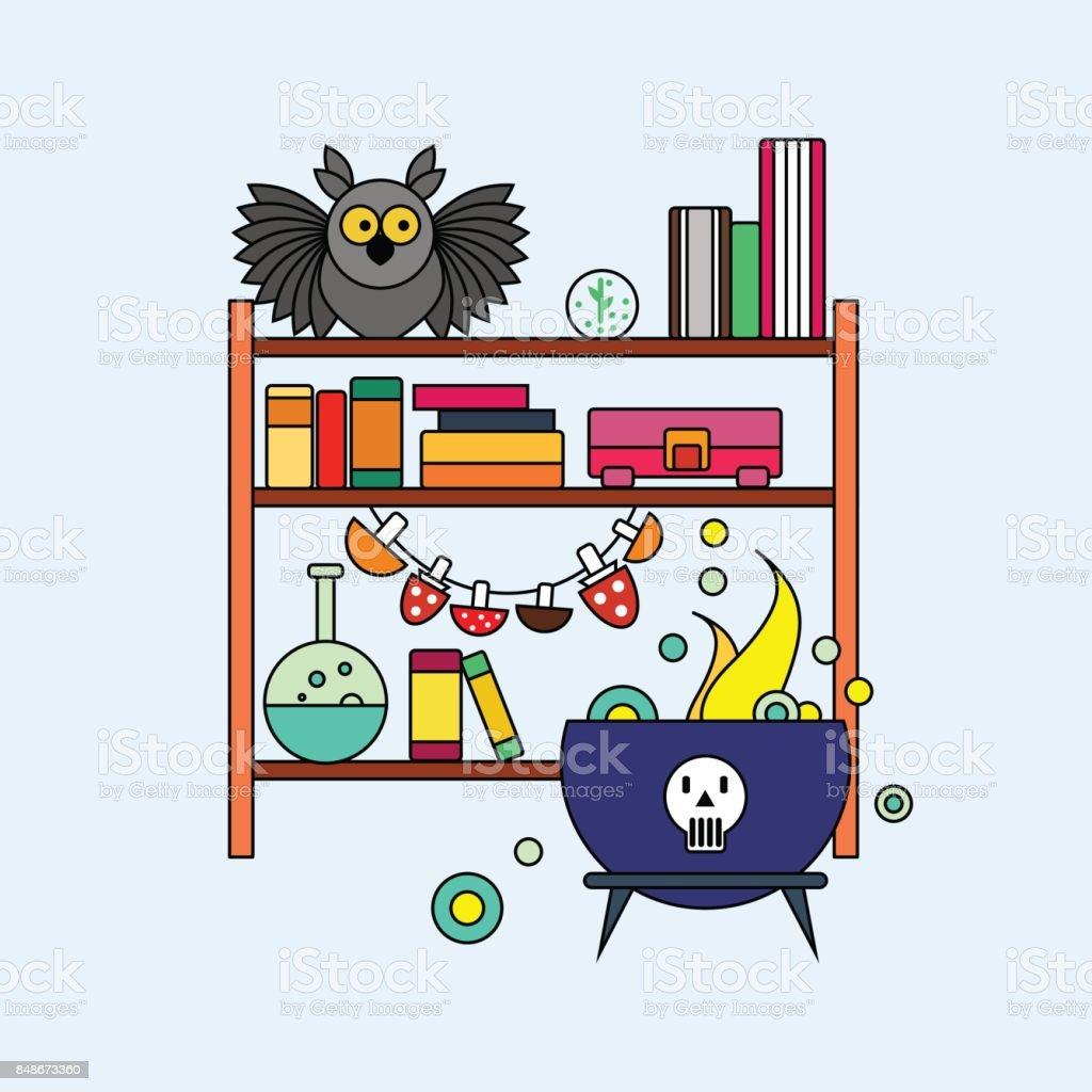 オフィスは魔女ポーション頭蓋骨レトルト書棚フクロウと沸騰釜です