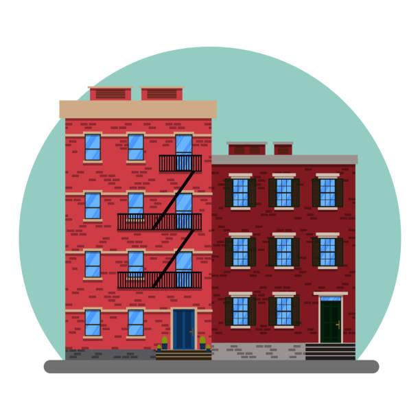 die amerikanische stadt abstrakte altbauten. new york manhattan altbauten. alte gebäude und fassaden von new york, vektor-illustration - dachpfannen stock-grafiken, -clipart, -cartoons und -symbole