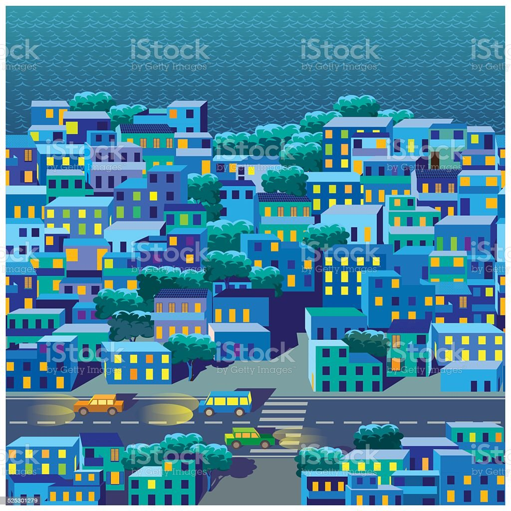 the old district at night vector art illustration