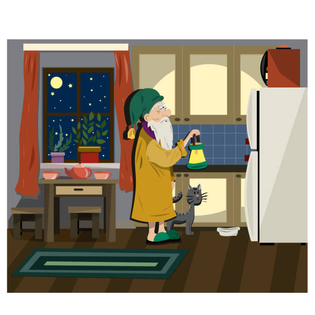 the old grandfather in the kitchen is going to eat - old man sleeping drawing stock illustrations, clip art, cartoons, & icons