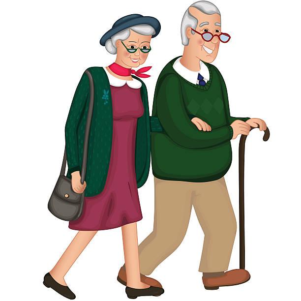the old lady and a gentleman with silver hair, go - old man standing background stock illustrations, clip art, cartoons, & icons