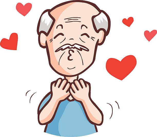 the old man crazy in love vector - old man kissing stock illustrations, clip art, cartoons, & icons
