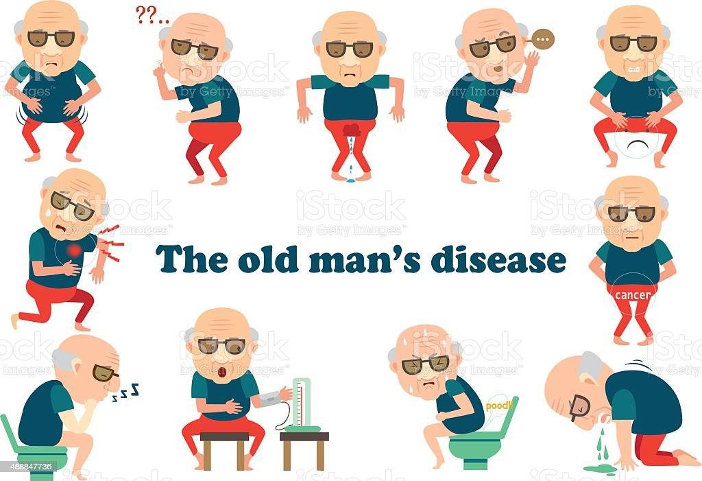 The old man's disease vector art illustration