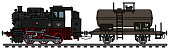 The vectorized hand drawing of a classic steam locomotive and a tank wagon