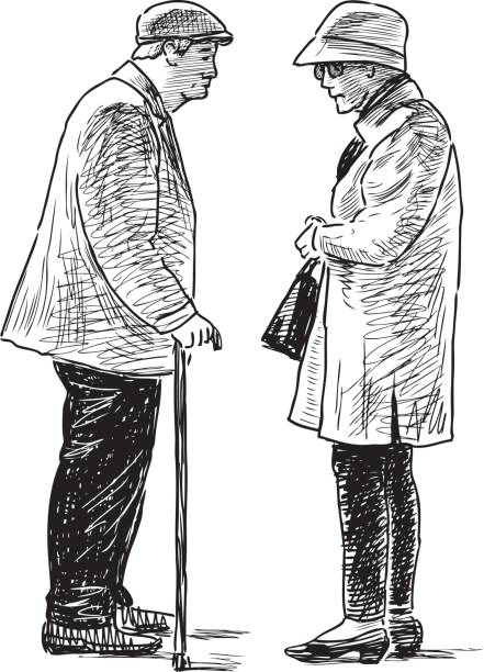 the old townspeople talking - old man standing drawings stock illustrations, clip art, cartoons, & icons