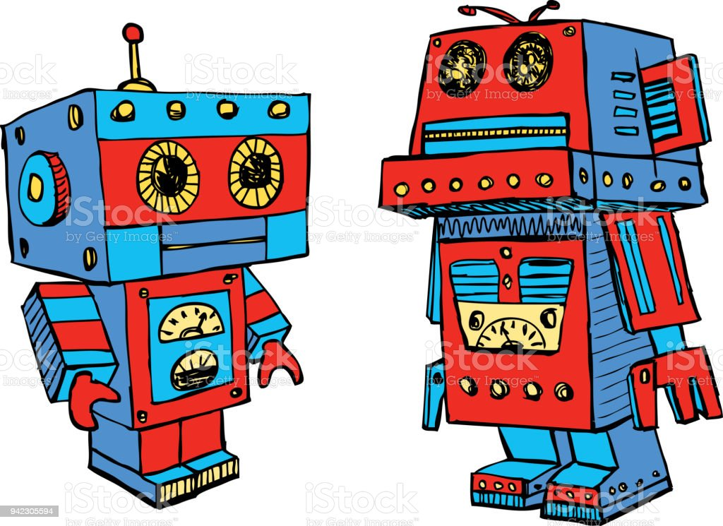 The old toy robots vector art illustration
