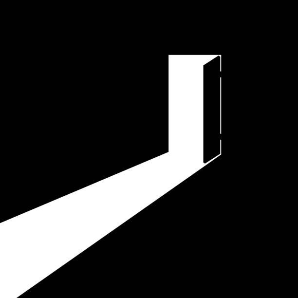 The open door The open door out of the darkness to the light. Vector illustration. door stock illustrations