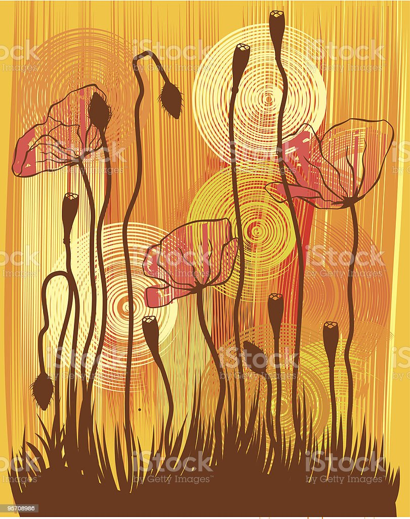 The orange poppies royalty-free the orange poppies stock vector art & more images of backgrounds