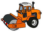 The hand drawing of an orange road roller