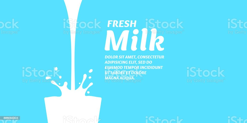 The original concept poster to advertise milk vector art illustration