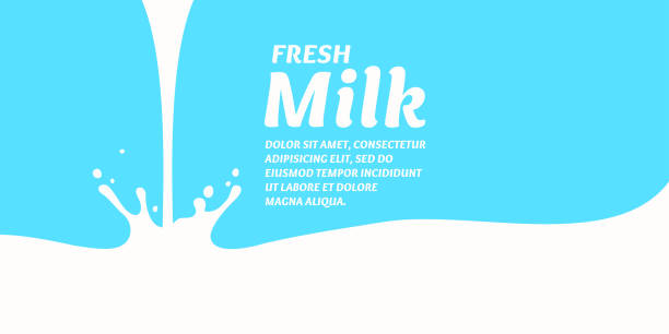 The original concept poster to advertise milk The original concept poster to advertise milk. Vector sticker. pouring stock illustrations
