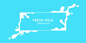 The original concept poster to advertise milk. Vector sticker.