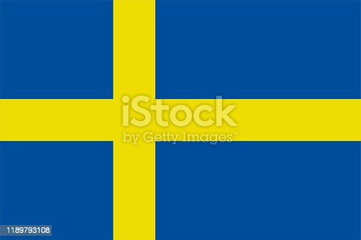The Original Flag Of Sweden,Vector Illustration The Color Of The Original,  Official Colors and Proportion Correctly, Isolate White Background Label .EPS10