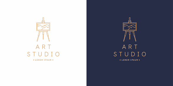 The original linear image of the art Studio. Isolated vector emblem.