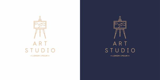 アートスタジオのオリジナルの線形イメージ。分離ベクトルエンブレム。 - 美術館点のイラスト素材/クリップアート素材/マンガ素材/アイコン素材