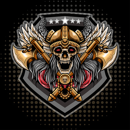The original Vikings logo featuring a war head on a background of two axes. Illustration for t-shirts, posters, hoodies and Souvenirs. Vector