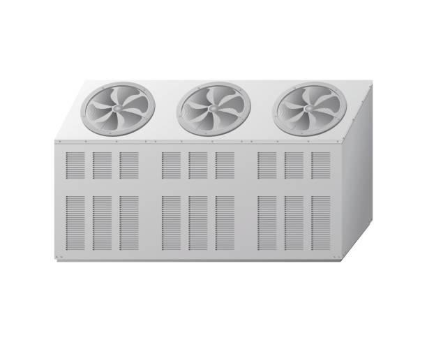 das außengerät der kältemaschine. kühlanlagen - kondensation stock-grafiken, -clipart, -cartoons und -symbole