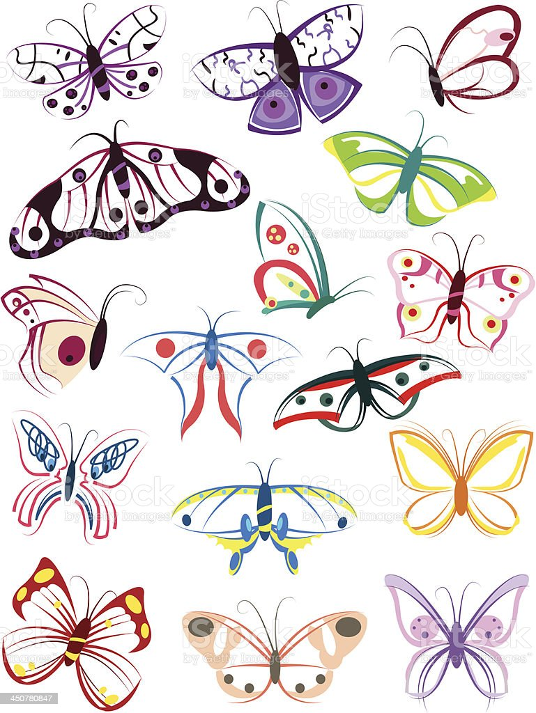 The outlines of butterflies royalty-free stock vector art
